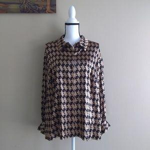 Oscar de la Renta Silk Button Down Blouse Size 18W